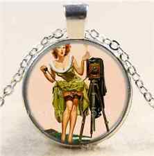 Camera Pinup girl Cabochon Glass Tibet Silver Chain Pendant Necklace