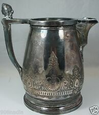 ANTIQUE SILVER PLATED TEA/COFFEE POT OR TANKARD/PITCHES,ROME GODDESS HEAD,ETCHED