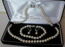 """20"""" Inch Set 7-8mm ROUND White Pearl Necklace Bracelet Earrings Freshwater RLB"""