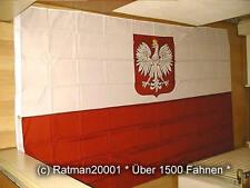 Fahnen Flagge Polen mit Wappen - 1 - 150 x 250 cm