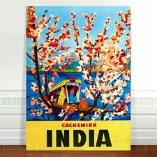 "Stunning Vintage Travel Poster Art ~ CANVAS PRINT 8x10"" India Cachemira"