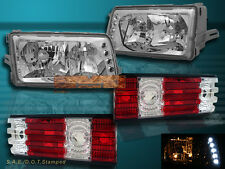 81-91 MERCEDES W126 S CLASS SEDAN HEADLIGHTS CHROME & TAIL LIGHTS RED CLEAR NEW