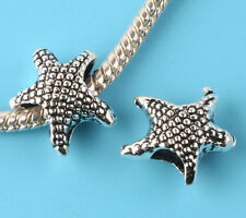 2pcs Tibetan silver starfish Spacer beads fit European Bracelet Chain #E208