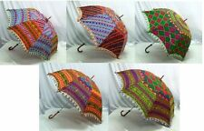 Indian Designer Umbrella Vintage Colorful Hand Embroidered Parasol 24'' 5 Pcs