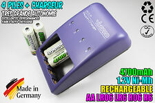 CHARGEUR VIVANCO CHARGER + 4 PILES ACCUS RECHARGEABLE NI-MH 1.2V AA 4700MAH LR06