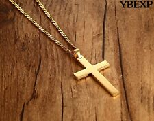 24'' MEN Stainless Steel Plain Cross Pendant Gold Black Silver chain Necklace