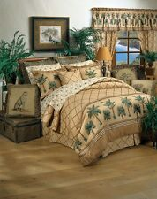 Kona Palm Tree Tropical Beach 4 Piece QUEEN Set (1 Comforter,2 Shams,1 Bedskirt)