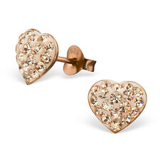 Rose Gold over 925 Sterling Silver Earrings-Peach CZ Bulbous Heart Studs-9x9mm
