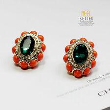 Boucles d`Oreilles Clips Doré Puces Ovale Vert Emeraude Mini Perle Corail J6