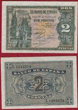 ESPAÑA 2 PESETAS año 1938. Serie L. Nº 1483379. Catedral de Burgos. ESCASO.
