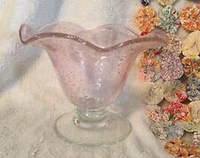 Vintage Pink Bubble Art Glass Vase with Scalloped Edge & Clear Solid Bottom