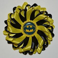 "Handmade ""BATMAN"" Superhero Inspired Girl's Hair Clip/Bow, Kanzashi Style"