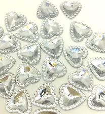 New 100pcs Rhinestone Herat 12mm FlatBack Scrapbook For DIY Making Crafts White