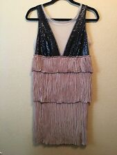 BCBG MAX AZRIA Runway Black Sequence Nude Formal Sexy Gatsby Prom Dress XS 0