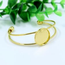 2pcs Gold Tone 20mm Settings Bezel Tray DIY Bracelet Base Cabochon Cameo