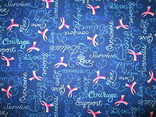 BREAST CANCER PINK RIBBONS STRENGTH COURAGE LOVE BLUE COTTON FABRIC FQ