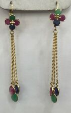 14k Solid Gold Dangle Earrings W/ Natural Ruby Sapphire Emerald Round&Oval3.08GM