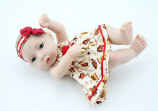 "11"" Handmade Girl Baby Doll Bath Reborn Cute Mini Doll Full Body Silicone Vinyl"