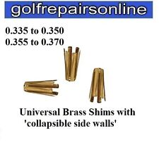 12 x BRASS GOLF SHAFT ADAPTOR SHIMS FOR TAPER IRON SHAFTS -CONVERTS .355 to .370