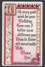 1913 RENSSELAER NY, BIRTHDAY GREETING WITH MAY GOD BLESS YOU