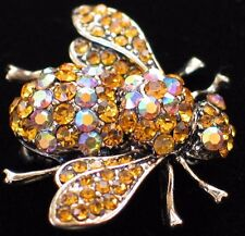 COPPER AB GOLD RHINESTONE BUG INSECT BEETLE FLYING BUMBLE BEE PIN BROOCH JEWELRY