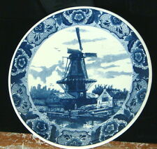 """Delfts Blauw Windmill Scape - Wall Plate / Charger - 15 1/2"""" Diameter"""
