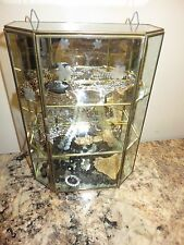 VINTAGE BRASS GLASS TABLE TOP WALL CURIO CABINET DISPLAY CASE MIRROR ETCHED BIRD