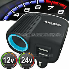 Energizer 12v 24v Car Cigarette Lighter Socket With Twin USB Ports Power Adapter