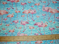 Cotton Fabric Paint Brush Studio Birds of a Feather  ALL Flamingos  BTY