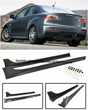 For 08-15 Mitsubishi Lancer Rally Style Rocket Panels Side Skirts Splitter Kit
