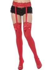 Red Thigh High Stockings & Garter Bijou Boutique SENT FROM UK Ladies Fancy Dress