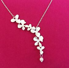 925 Silver Plated Trailing Orchid Flower Necklace Pendant & Pearl ladies gift,