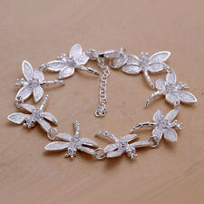 New Women 925 Sterling Silver Plated Cute Dragonfly Charm Chain Bracelet Bangle
