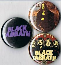 set of 3 Black Sabbath pins buttons badges ozzy osbourne logo s/t witch