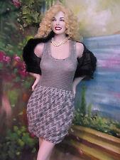RACHEL ROY designer KNIT dress BUBBLE skirt RACER back top GRAY Blk WHITE Sm NWT