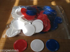 IVORY~WHITE/RED/BLUE Poker Chips Stackable Plastic Quantity 109