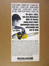 1966 McCulloch MAC-10 Chain Saws chainsaw vintage print Ad