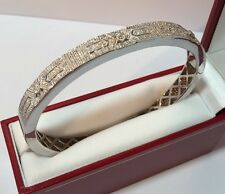 $895 Designer Sterling Silver Diamond Filigree Pave Cuff Bangle 925 Bracelet 7""