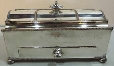 ANTIQUE C19th SILVER-PLATED SERPENTINE DESK PEN STAND TIDY WITH GLASS INKWELLS