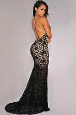 Abito lungo ricamato nudo trasparente pizzo cerimonia Lace Crisscross Back Dress