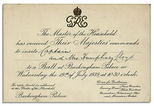 King George VI & Queen Elizabeth Invitation to a Ball