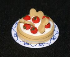 STRAWBERRY SHORT CAKE 1:12 Scale Dollhouse Miniatures Dessert Kitchen Party