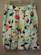 NWT $68 Grace Elements SILK Floral Multi Color Skirt Womens 10