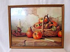 """""""STILL LIFE with APPLES""""  FRAMED Picture PRINT ROBERT CHAILLOUX 11 x 14"""