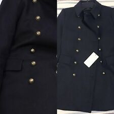ZARA NAVY BLUE LIKE BLACK JACKET COAT BUTTONS BLAZER WOOL MILITARY LARGE L NEW