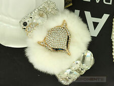 Luxury Bling Fox Rabbit Fur Crystal Diamond Rhinestone Case Cover For Cellphone