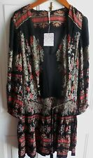 NWT FREE PEOPLE MINI DRESS OR TUNIC V-NECK LONG SLEEVES BLACK & COLORS SIZE M