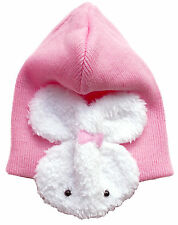 Baby Hat 100% Cotton Double Lined Warm + Bunny Ear Muffs 6 - 12 months
