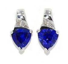 3 Ct Blue Sapphire & Diamond Trillion Stud Earrings .925 Sterling Silver