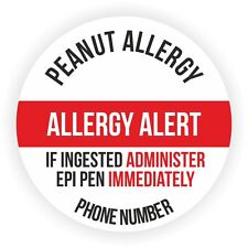 20 Large Personalised Stickers For Child With Peanut Allergy Add Your Phone No.